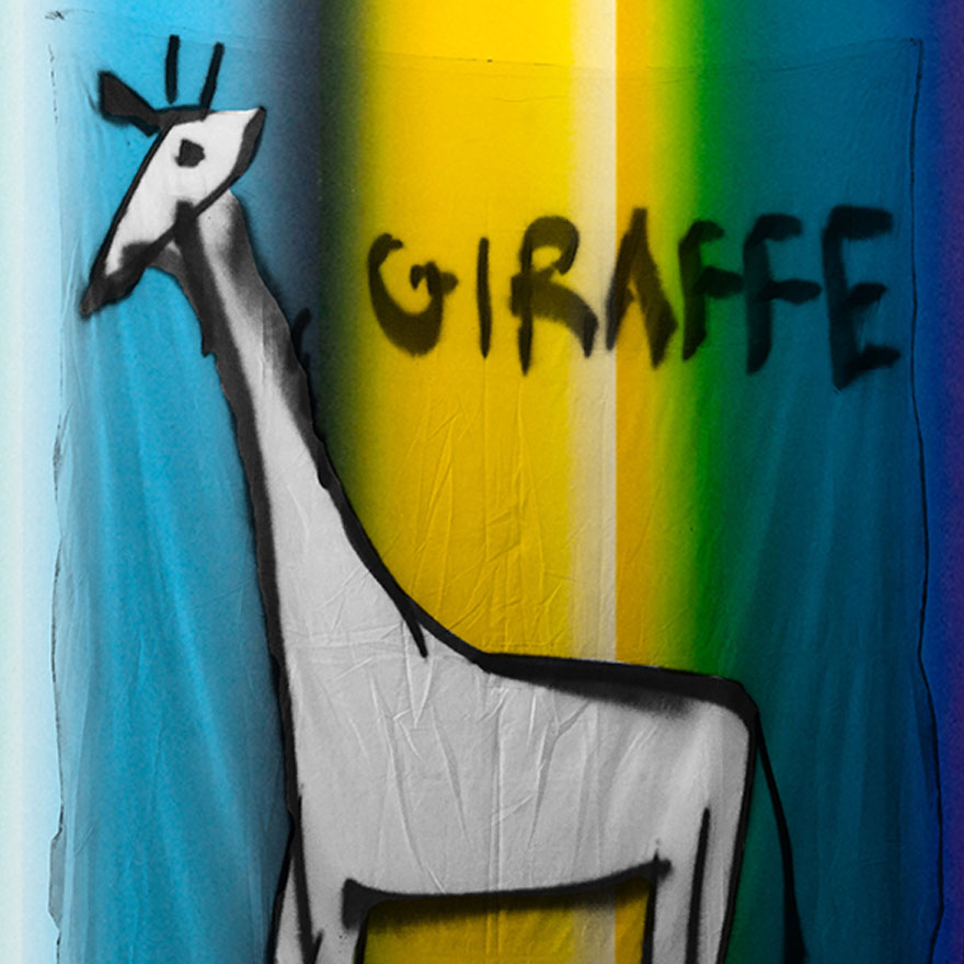 Line drawing of a giraffe overlain onto rainbow-coloured background.