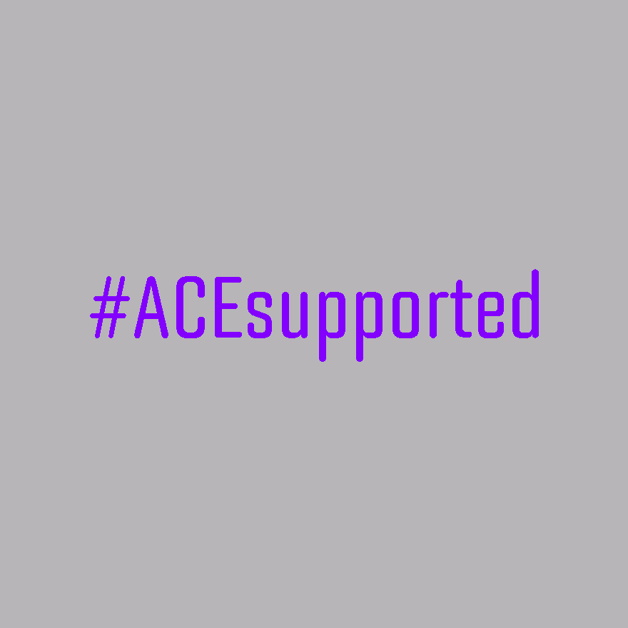 Purple text on light grey background, reading #ACEsupported.