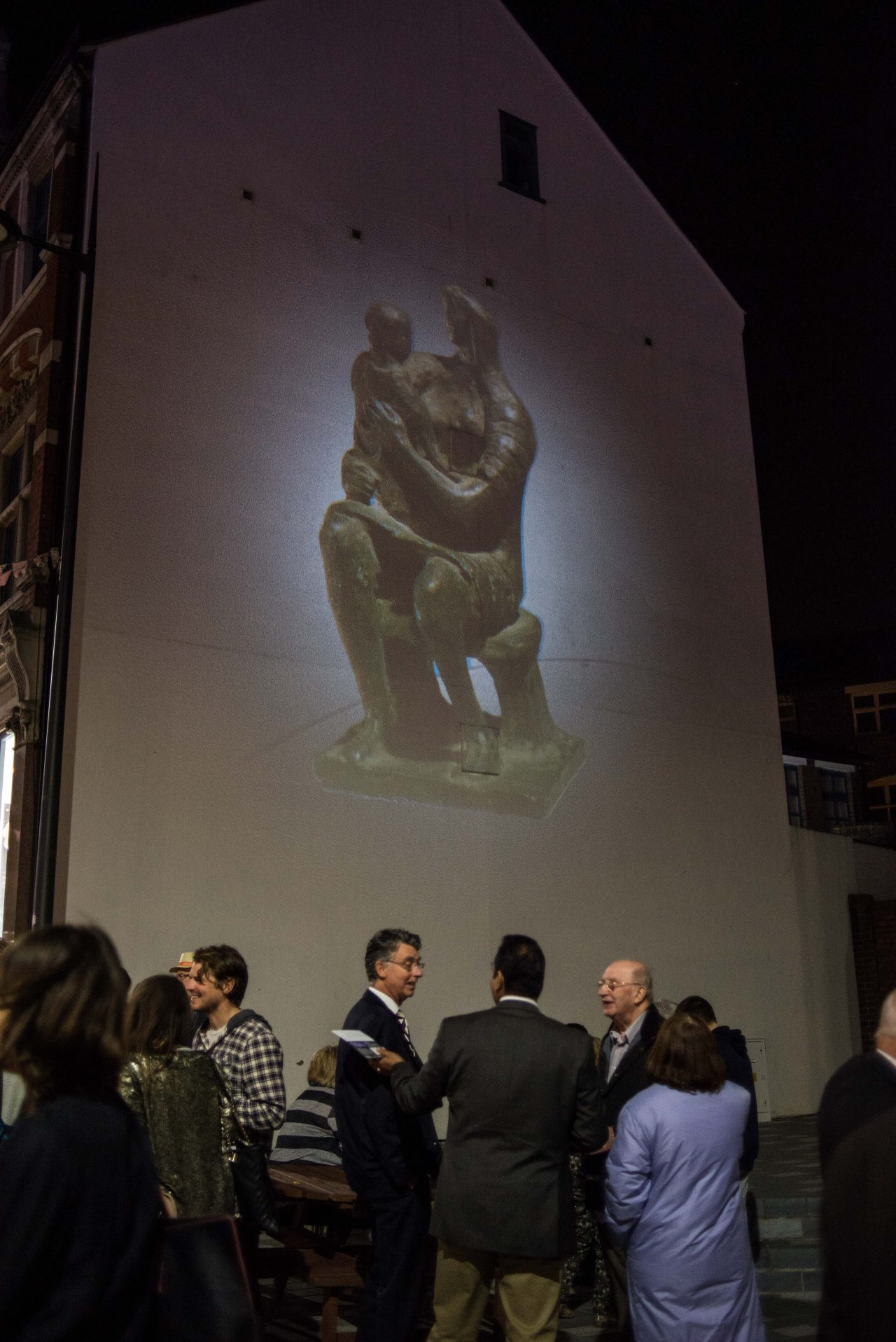 Image of Henry Moore's 'Mother & Child' projected onto the culture wall at the launch of the public realm arts project.