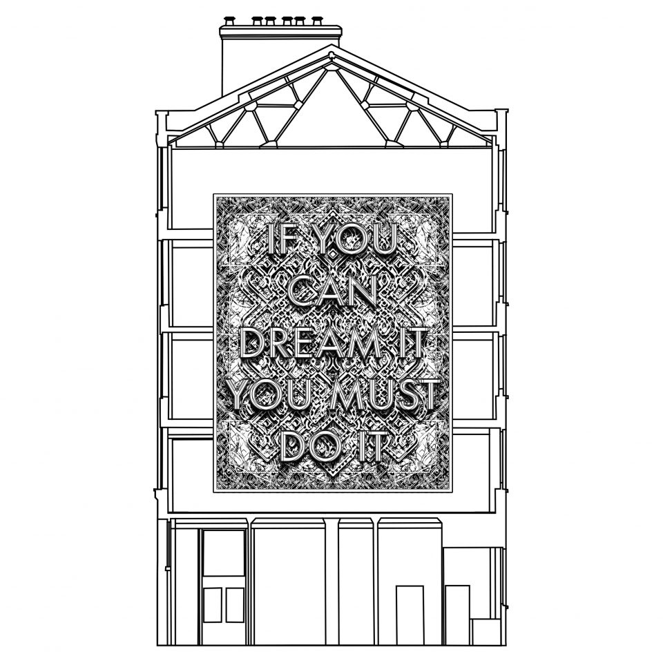 Rendering of Mark Titchner's 'If You Can Dream It, You Must Do It' due to launch on the gable end wall of The Hat Factory in December 2016.