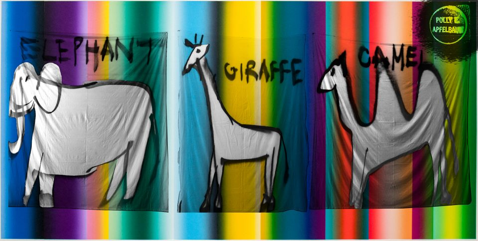 Line paintings of an elephant, giraffe, and camel overlaid onto a rainbow-coloured background.