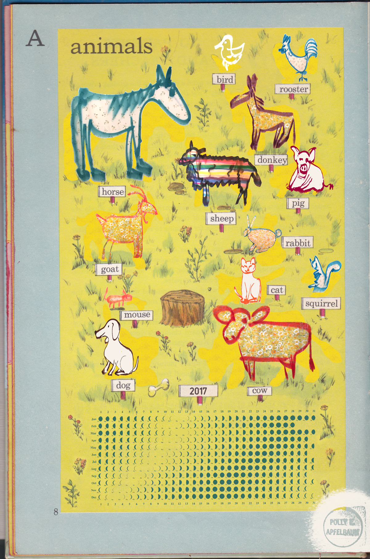 Line drawings on animals on yellow background.