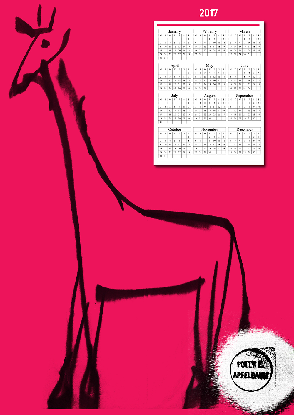 Line drawing of giraffe on pink background with calendar in top right-hand corner.