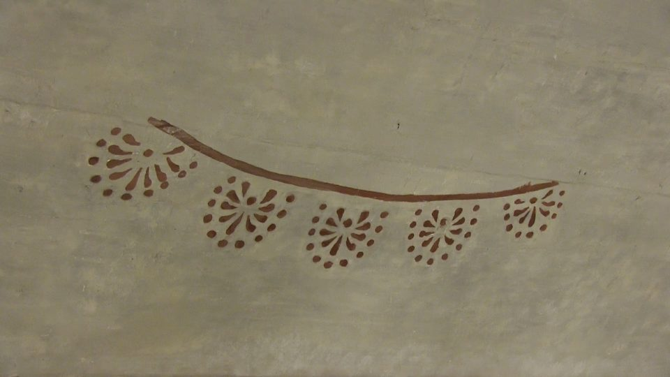 Patterned detail of wall fresco in Poland