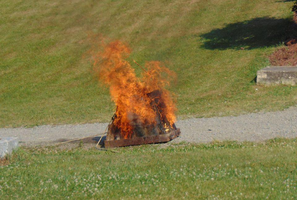 Bonfire on a field
